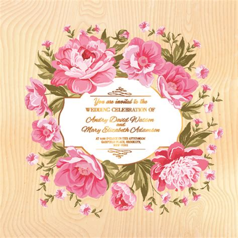 Wedding Invitation Card Suite With Flower Templates by Flower Border Wedding Invitation Free Vector
