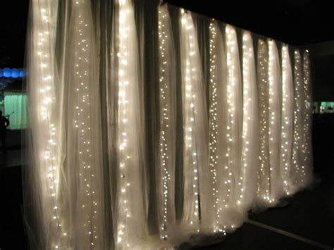 String Lights Wall - waterfall wall diy at your wedding reception tulle