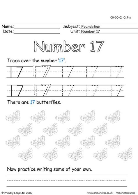 17 Number Tracing Worksheets For Preschoolers 17 Best - 7 best images of number 17 worksheets trace number 13