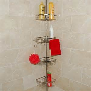 buy stainless steel tension pole shower caddy from bed