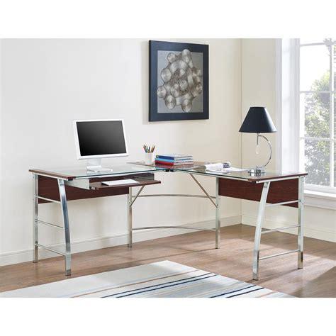 altra the works l shaped desk altra furniture wingate glass top cherry l shape desk