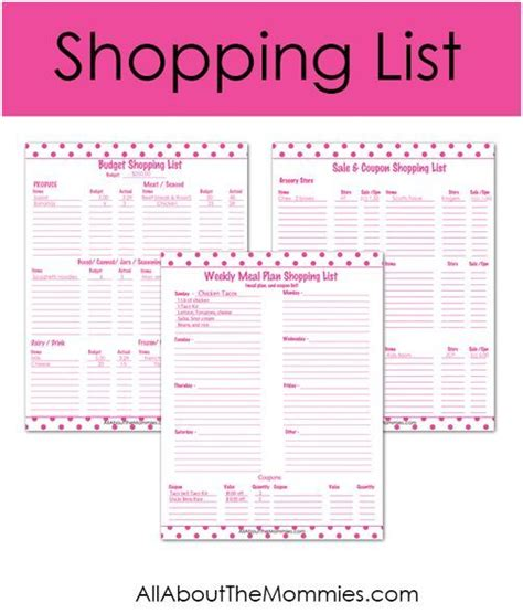 printable budget recipes free printable forms budget shopping list sale coupon