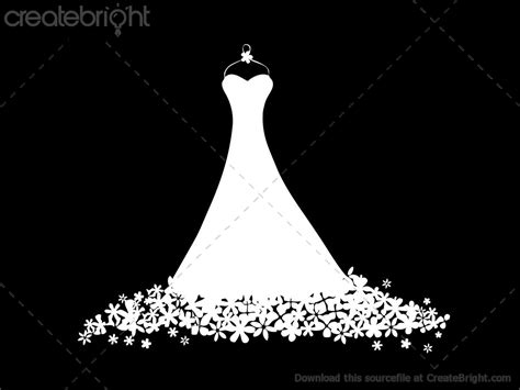 Wedding Dress Vector by Floral Vector Dress Illustration By Terry Bell In