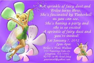 tinkerbell invitation cards for birthdays tinkerbell birthday invitation or thank by