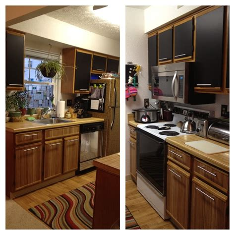 white formica kitchen cabinets zebrano and black contact paper and new hardware on old 80