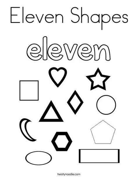 Eleven Shapes Coloring Page Twisty Noodle Number 11 Coloring Page