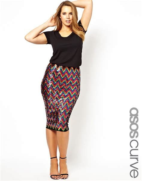 asos curve asos curve pencil skirt in rainbow sequins at