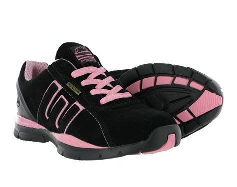 womens groundwork black pink steel toe work lace safety