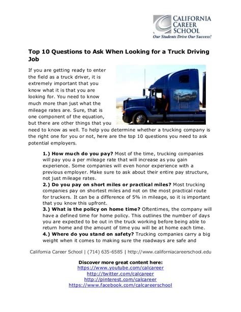 top 10 questions to ask when looking for a truck driving