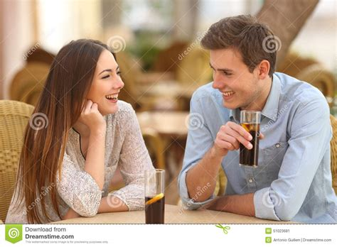 Couple Or Friends Talking In A Restaurant Stock Photo   Image: 51023681