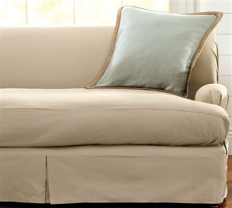 Pillow Arm Sofa Slipcover Separate Seat T Arm Cushion Fit Slipcover Twill Pottery Barn