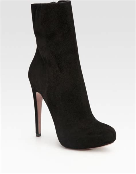 prada suede ankle boots in black lyst