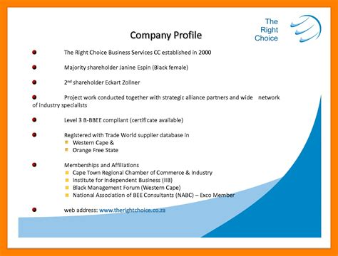 company profile template for small business 8 business profile exles sales clerked