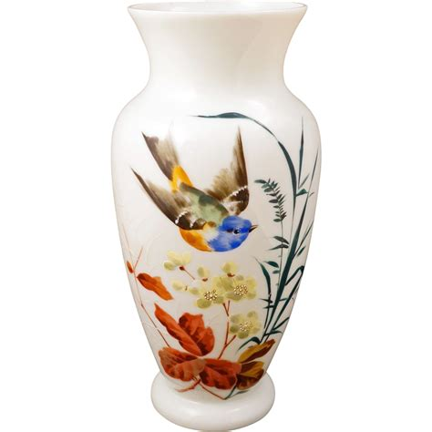 large white bristol glass vase with a painted design