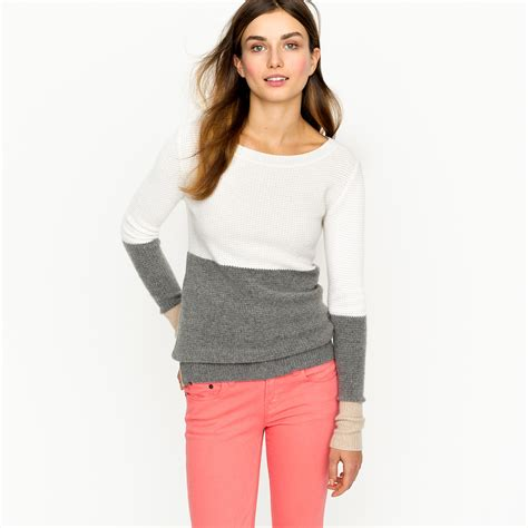 Color Block Sweater lyst j crew waffle colorblock sweater in gray