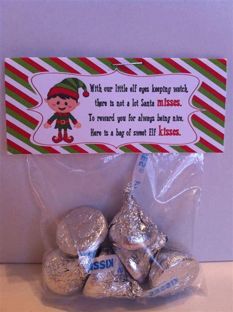 printable elf kisses bag toppers items similar to elf kisses treat bag topper printable
