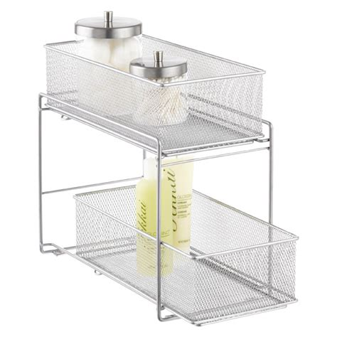 Mesh Storage Drawers by Silver 2 Drawer Mesh Organizer The Container Store