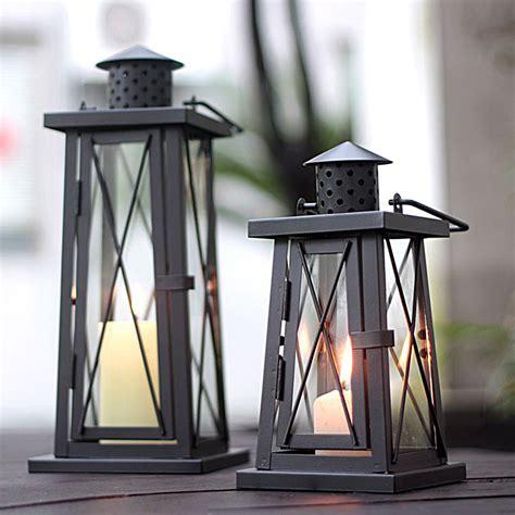 Outdoor Hurricane Candle Holders Classical Chimney Shaped Iron Metal Hurricane Lantern
