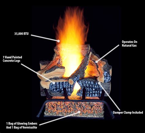 glowing embers for gas fireplace procom vented gas fireplace log set 18 in