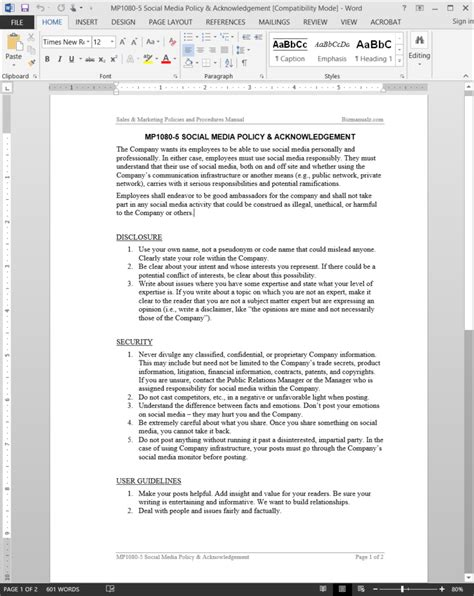 Social Media Policy Acknowledgement Template Social Media Policy Template