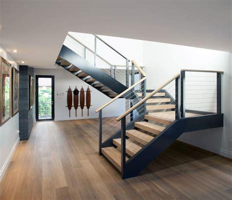 Split Level Style House metal amp wood stairs modern retreat in davie florida