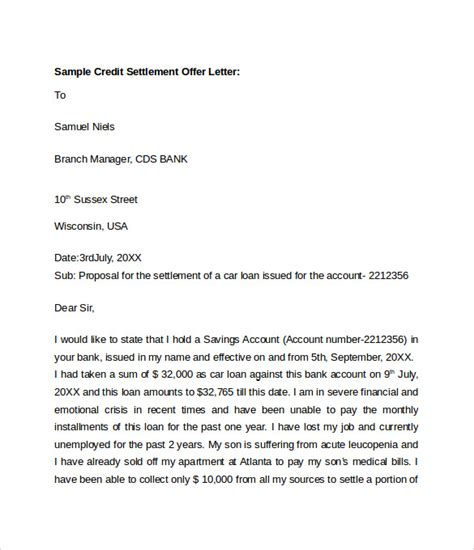 settlement letter template sle offer letter templates 11 free exles format