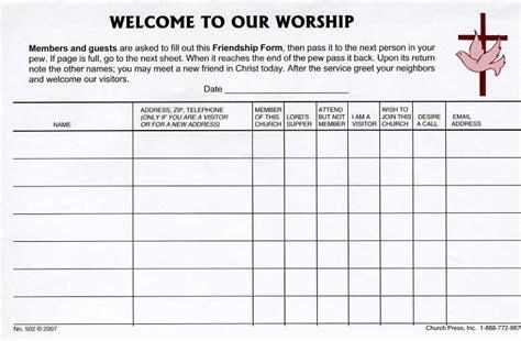 Church Attendance Materials Church Press Inc Church Attendance Form Template