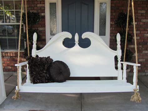 porch swing days great repurpose of a headboard porch swing made from 224
