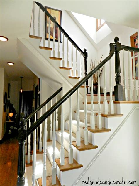 how to paint a stair banister staircase makeover redhead can decorateredhead can decorate