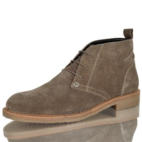 mens leather suede desert ankle boots casual boys lace up