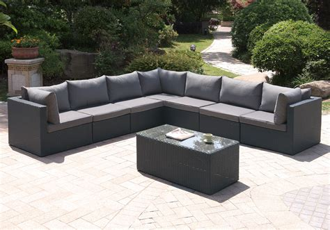 Patio Sectional Sofa Outdoor 8 Pcs Patio Pool Sectional Sofa Set Cocktail Glass Table Black Pe Wicker Ebay