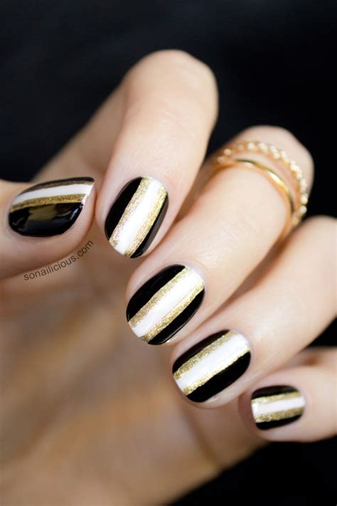 45 easy new years eve nails designs and ideas 2016 page 35 perfect black and gold nail art designs