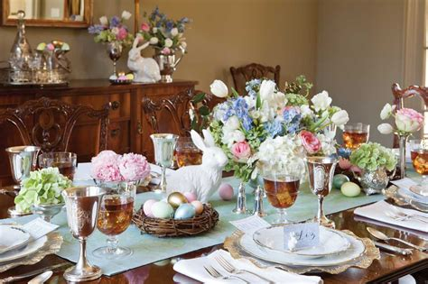 Formal Dining Room Table Centerpieces by Elegant Easter Tablescape