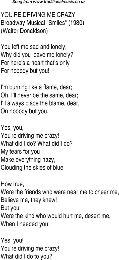 drive me crazy lyrics 1940s top songs lyrics for you re driving me crazy