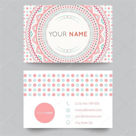 pattern card stock business card template blue white and pink beauty