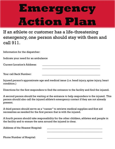 emergency plan template for sports guide on emergency plan template excel project