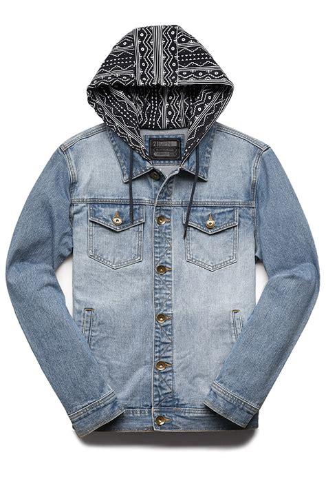 printed hooded denim jacket forever 21 print hooded denim jacket in blue for lyst