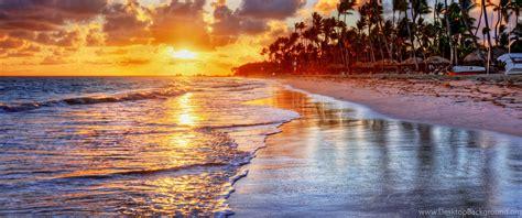 sunset tropical ocean sand sea palms beach shore wallpapers desktop background