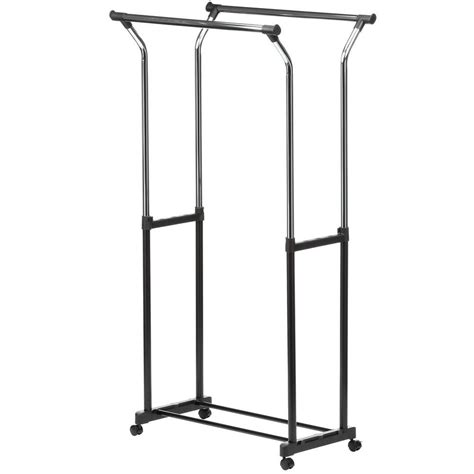 rolling garment rack honey can do flared double bar steel rolling garment rack