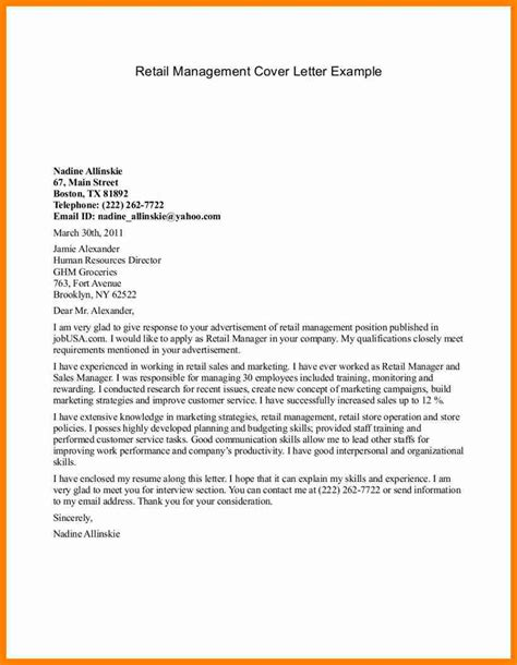 Management Cover Letter Exles For Resume 5 Covering Letter Exle For Retail Assembly Resume