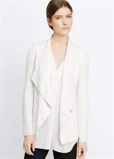 white draped blazer vince ribbed sleeve drape front jacket in white lyst