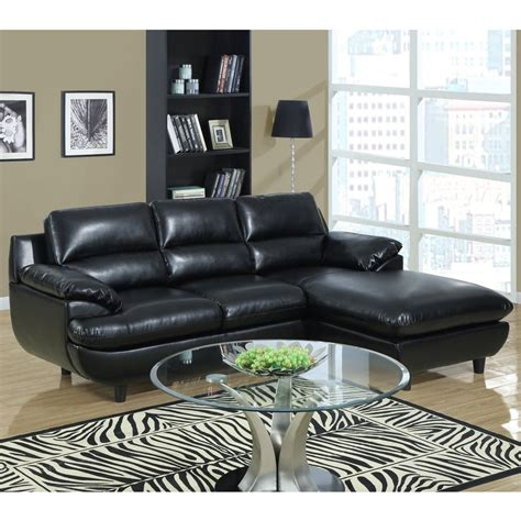 2 piece leather sectional shop monarch specialties 2 piece black bonded leather
