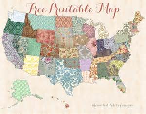 free printable usa map shabby chic