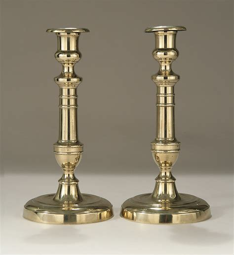 Antique Empire 5574 by Pair Of Brass Candlesticks C1800 1825 M