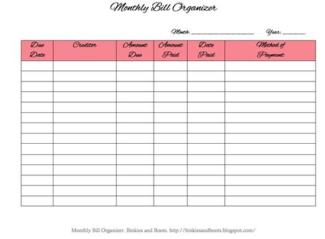 Binkies And Boots Monthly Bill Organizer Free Bill Planner Template