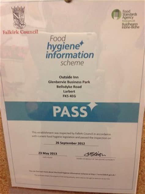 Food Hygiene Certificate Home Kitchen by The Outside Inn Larbert Restaurant Reviews Phone