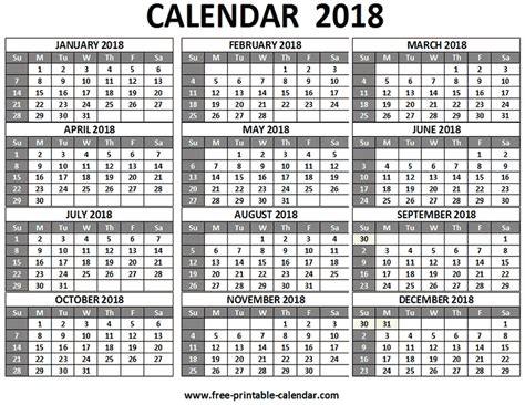 printable calendar 2018 one page free printable 2018 calendars download free 2018 calendar