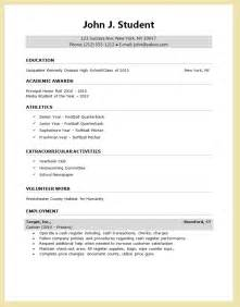 Resume Template For Application high school resume for college application