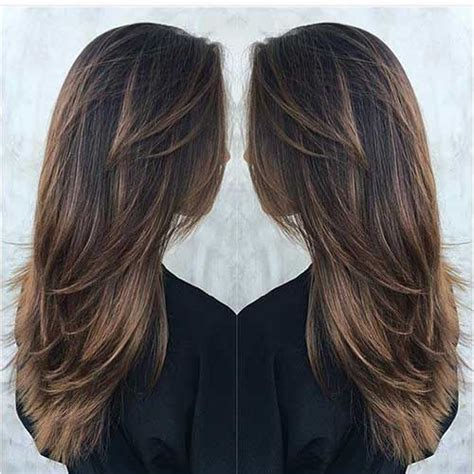 hairstyles with lots of color long deep brown hair with tawny brown balayage and lots of