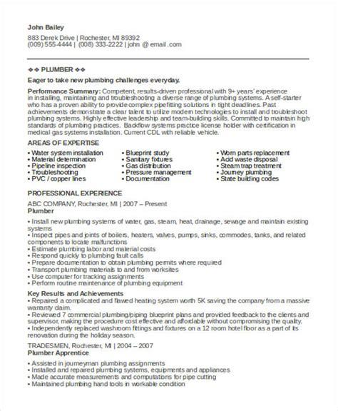 plumbers resume template 9 sle plumber resume templates pdf doc free